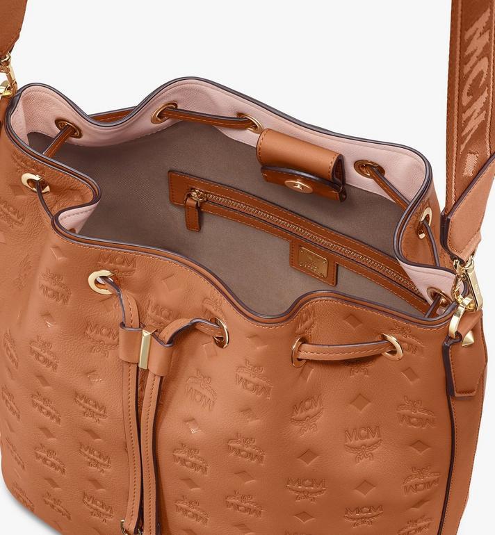 MCM Essential Drawstring Bag in Monogram Leather Cognac MWD9SSE76CO001 Alternate View 5