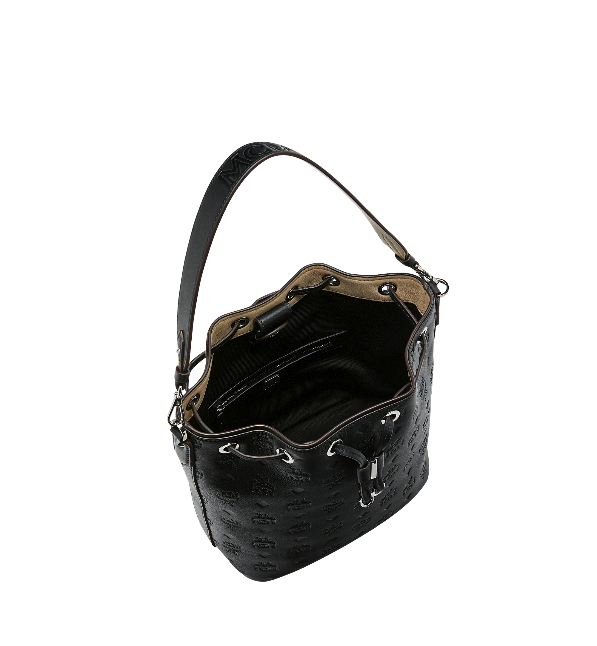 MCM Essential 經典壓花皮革抽繩包 Black MWD9SSE79BK001 更多視圖 4
