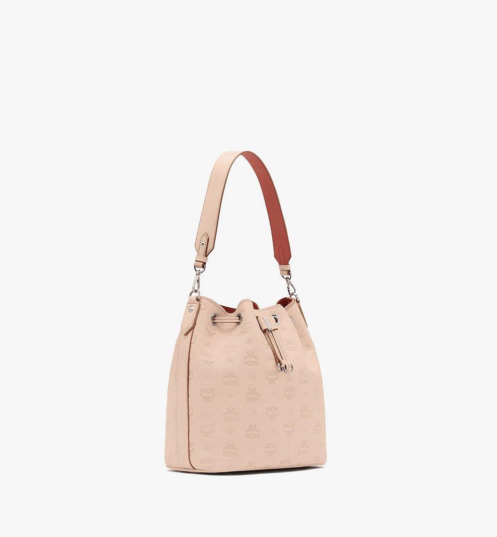 MCM Essential Drawstring Bag in Monogram Leather Beige MWD9SSE79II001 Alternate View 1