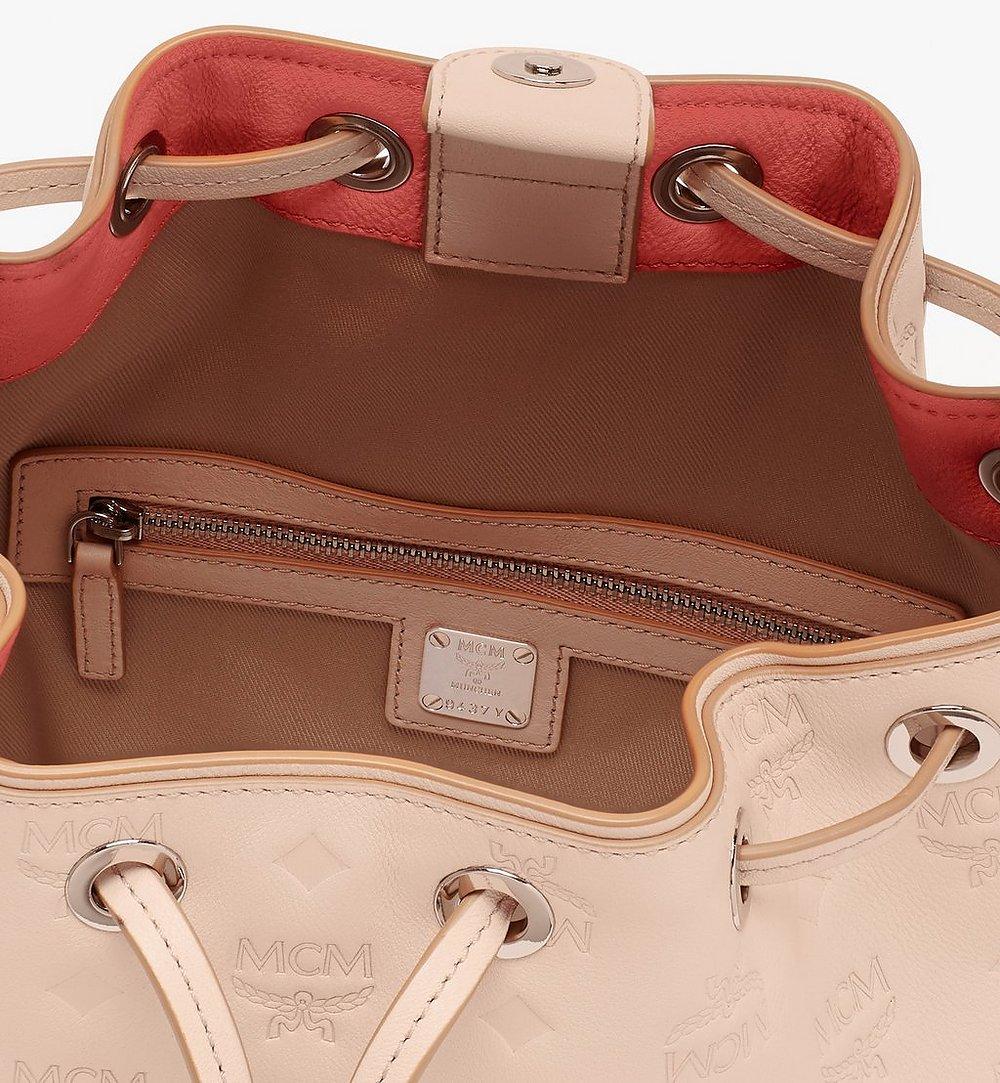 MCM Essential Drawstring Bag in Monogram Leather Beige MWD9SSE79II001 Alternate View 3