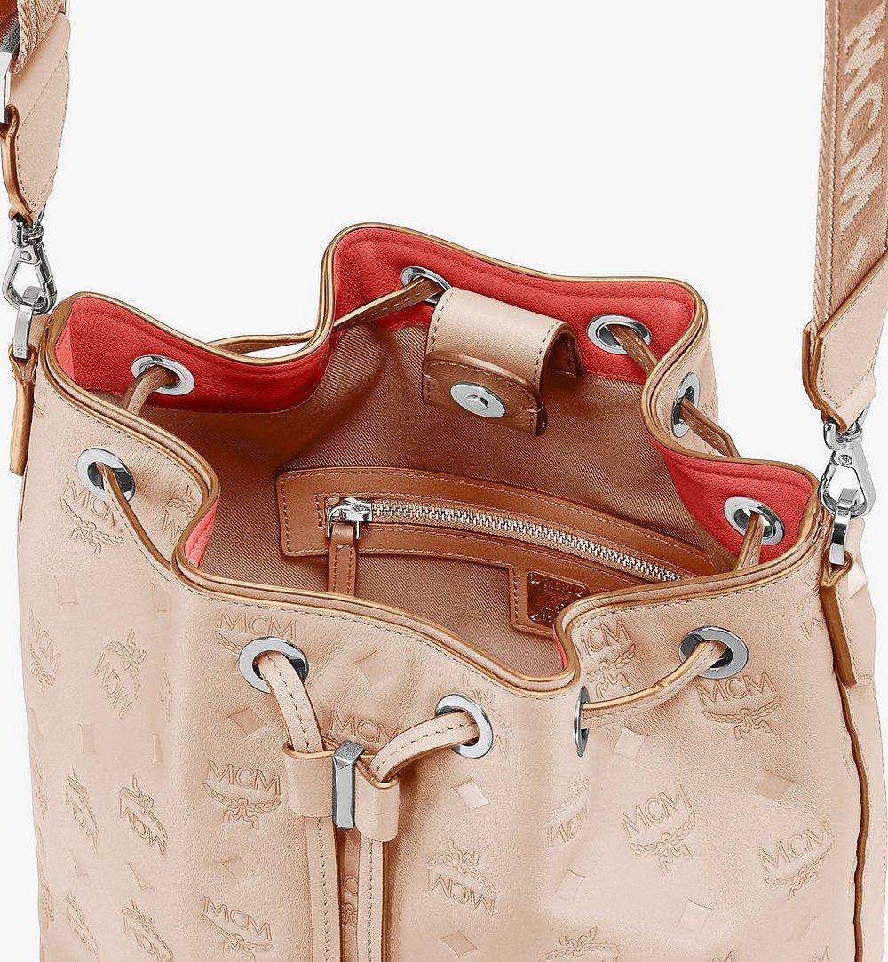 MCM Essential Drawstring Bag in Monogram Leather Beige MWD9SSE79II001 Alternate View 4