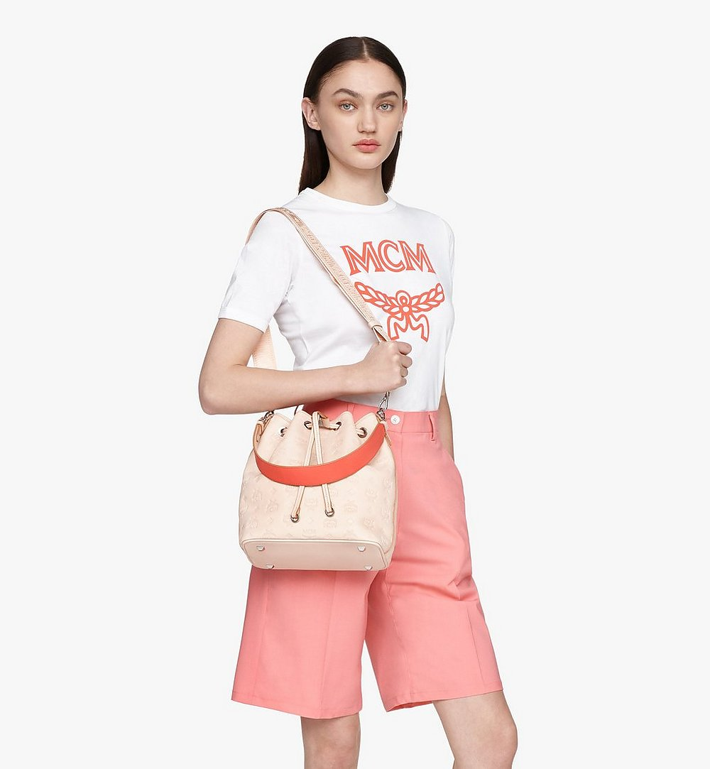 MCM Essential Drawstring Bag in Monogram Leather Beige MWD9SSE79II001 Alternate View 2