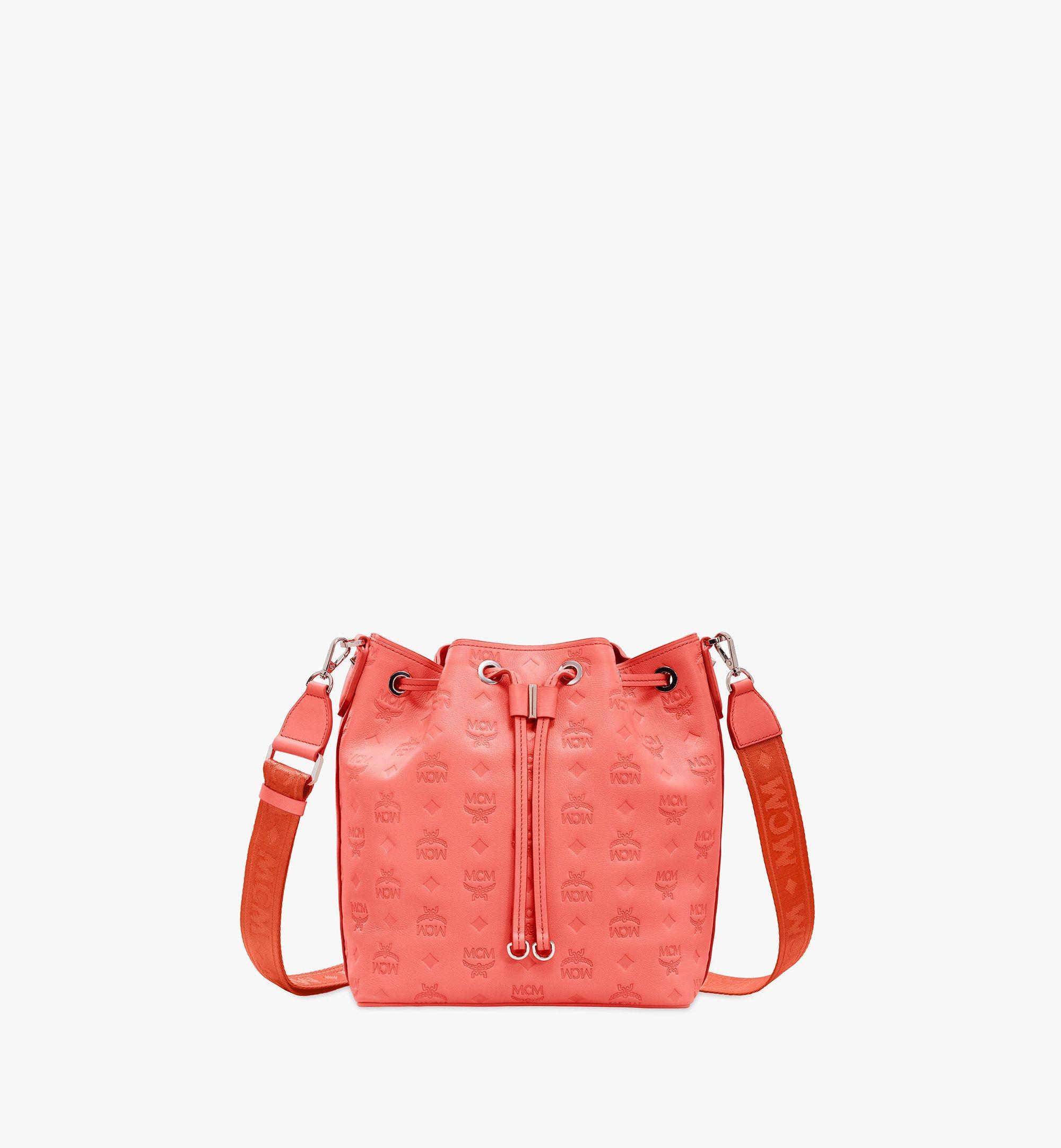 MCM Essential Drawstring Bag in Monogram Leather Orange MWD9SSE79O3001 Alternate View 1