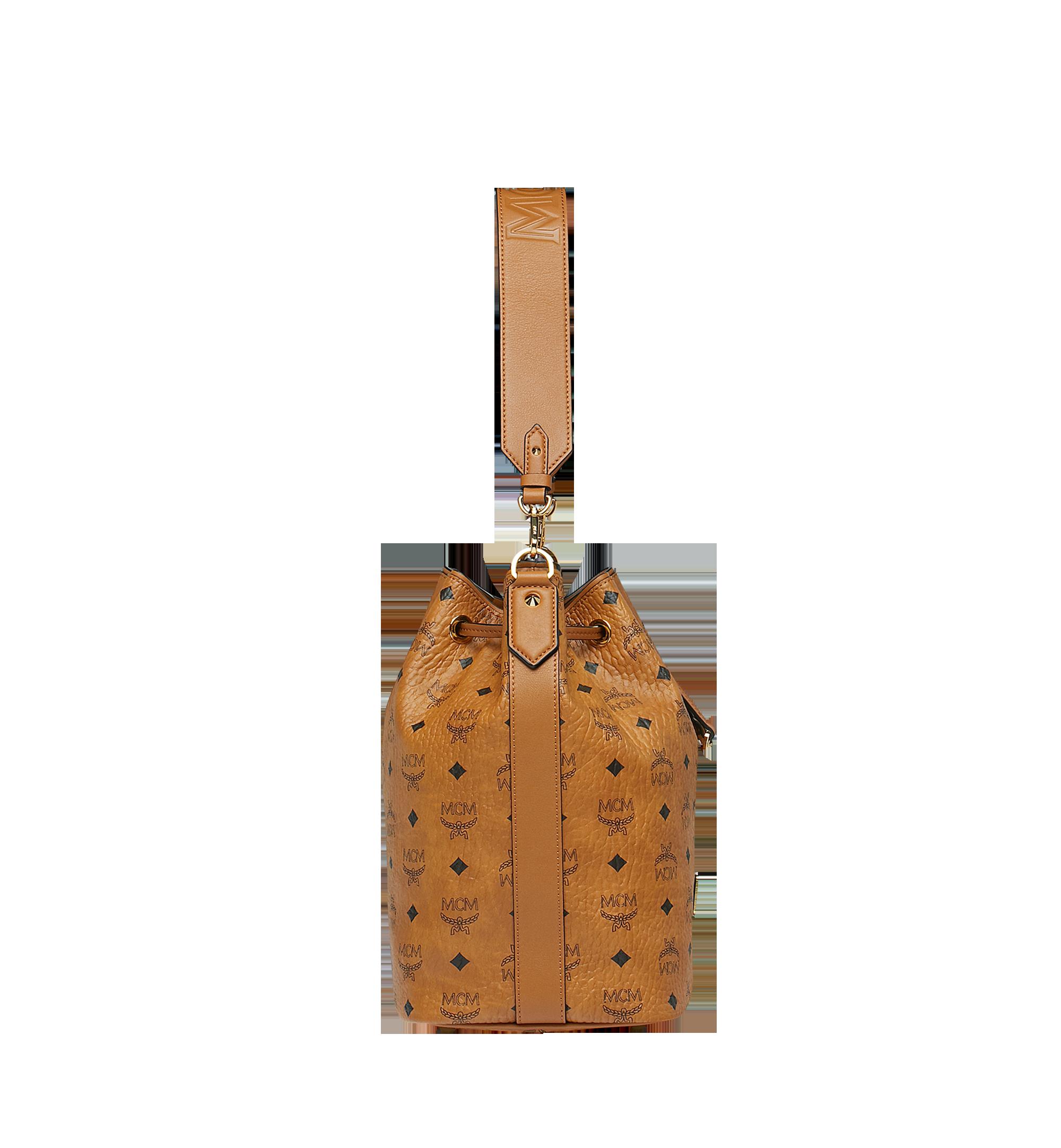 Medium Essential Kordelzug Tasche in Visetos Cognac | MCM® DE