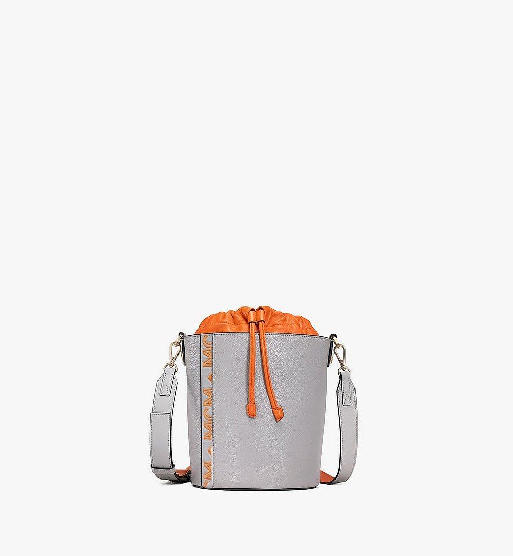 MCM Milano Drawstring Bag in Color Block Goatskin Leather Orange MWDAADA02O4001 Alternate View 1