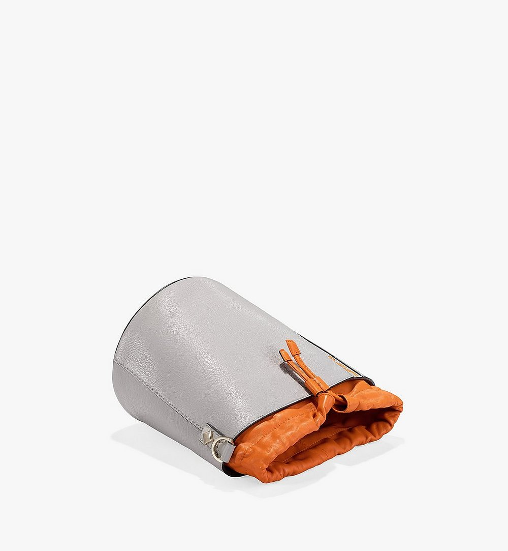 MCM Milano Drawstring Bag in Color Block Goatskin Leather Orange MWDAADA02O4001 Alternate View 2