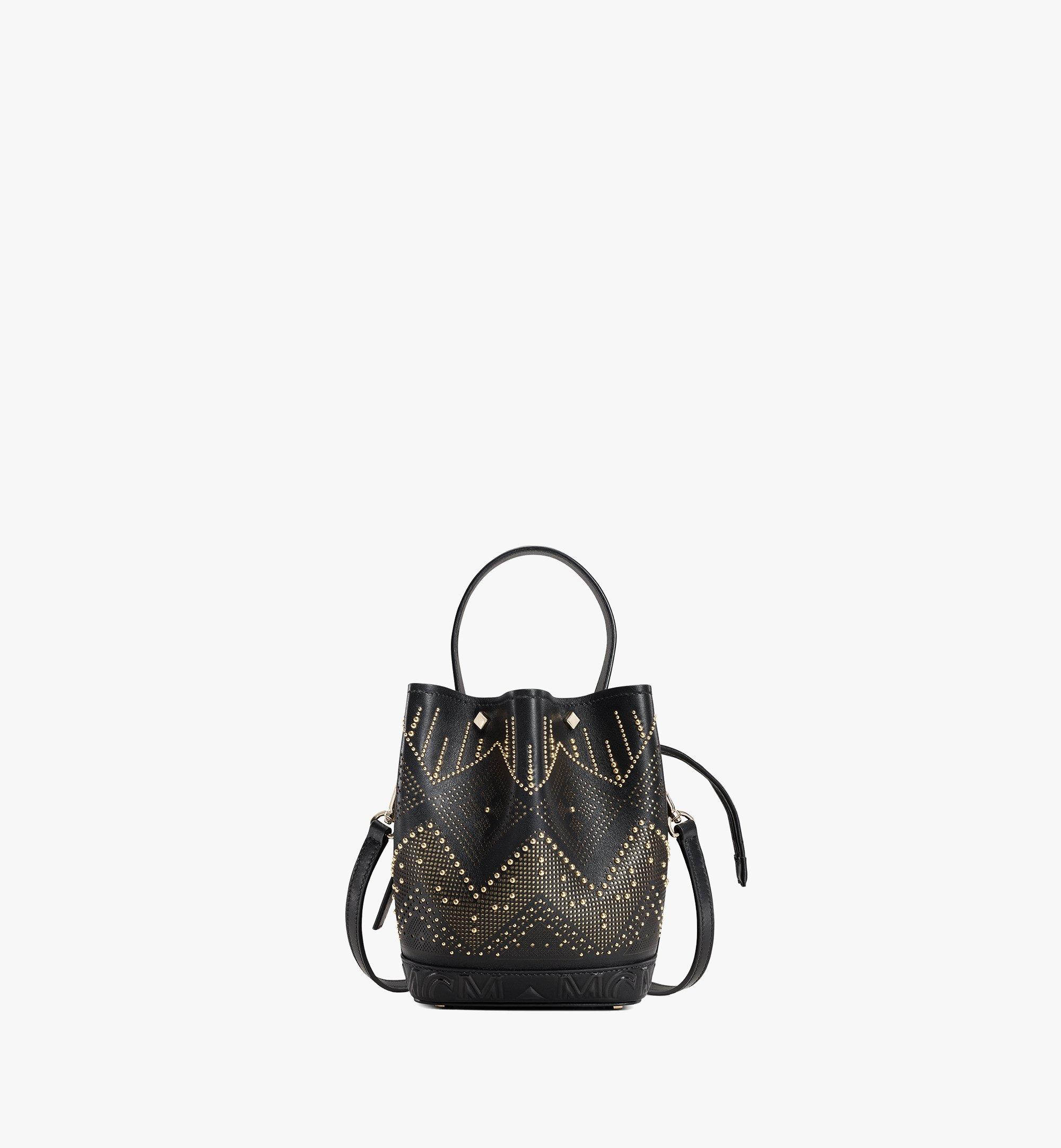 MCM Milano Lux Drawstring Bag in Studded Leather Black MWDAADA04BK001 Alternate View 1
