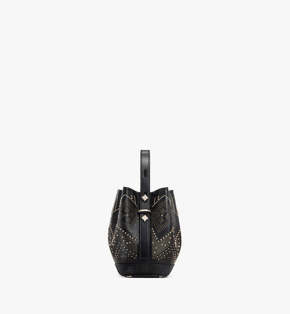 MCM Milano Lux Drawstring Bag in Studded Leather Black MWDAADA04BK001 Alternate View 1
