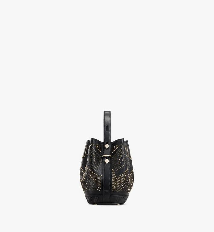 MCM Milano Lux Drawstring Bag in Studded Leather Black MWDAADA04BK001 Alternate View 2