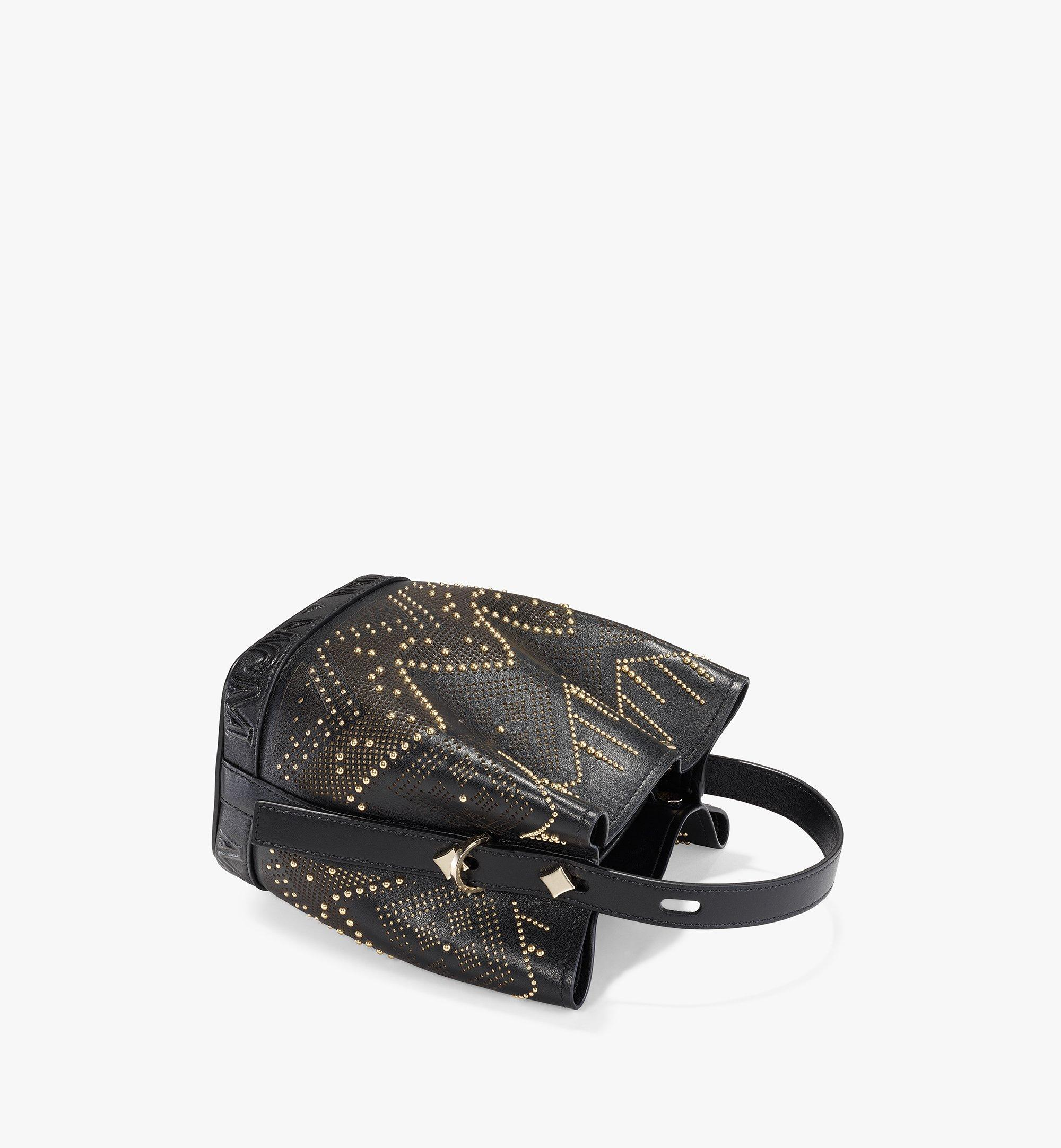 MCM Milano Lux Drawstring Bag in Studded Leather Black MWDAADA04BK001 Alternate View 3
