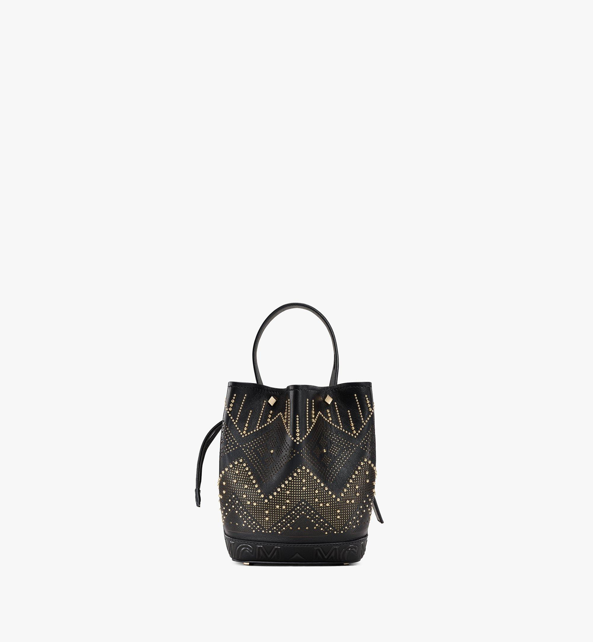 MCM Milano Lux Drawstring Bag in Studded Leather Black MWDAADA04BK001 Alternate View 4