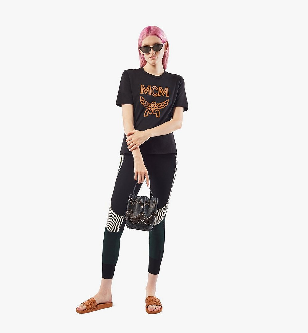 MCM Milano Lux Drawstring Bag in Studded Leather Black MWDAADA04BK001 Alternate View 4