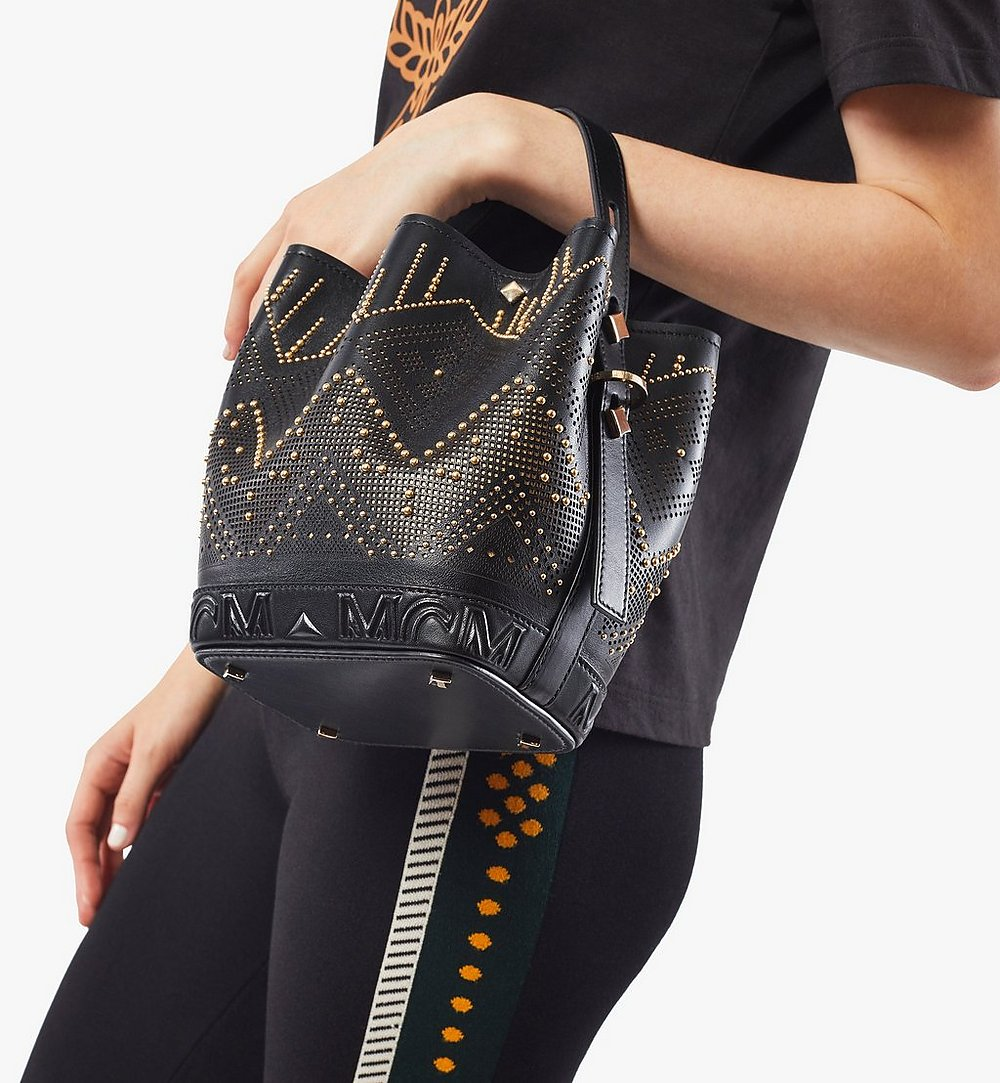 MCM Milano Lux Drawstring Bag in Studded Leather Black MWDAADA04BK001 Alternate View 2