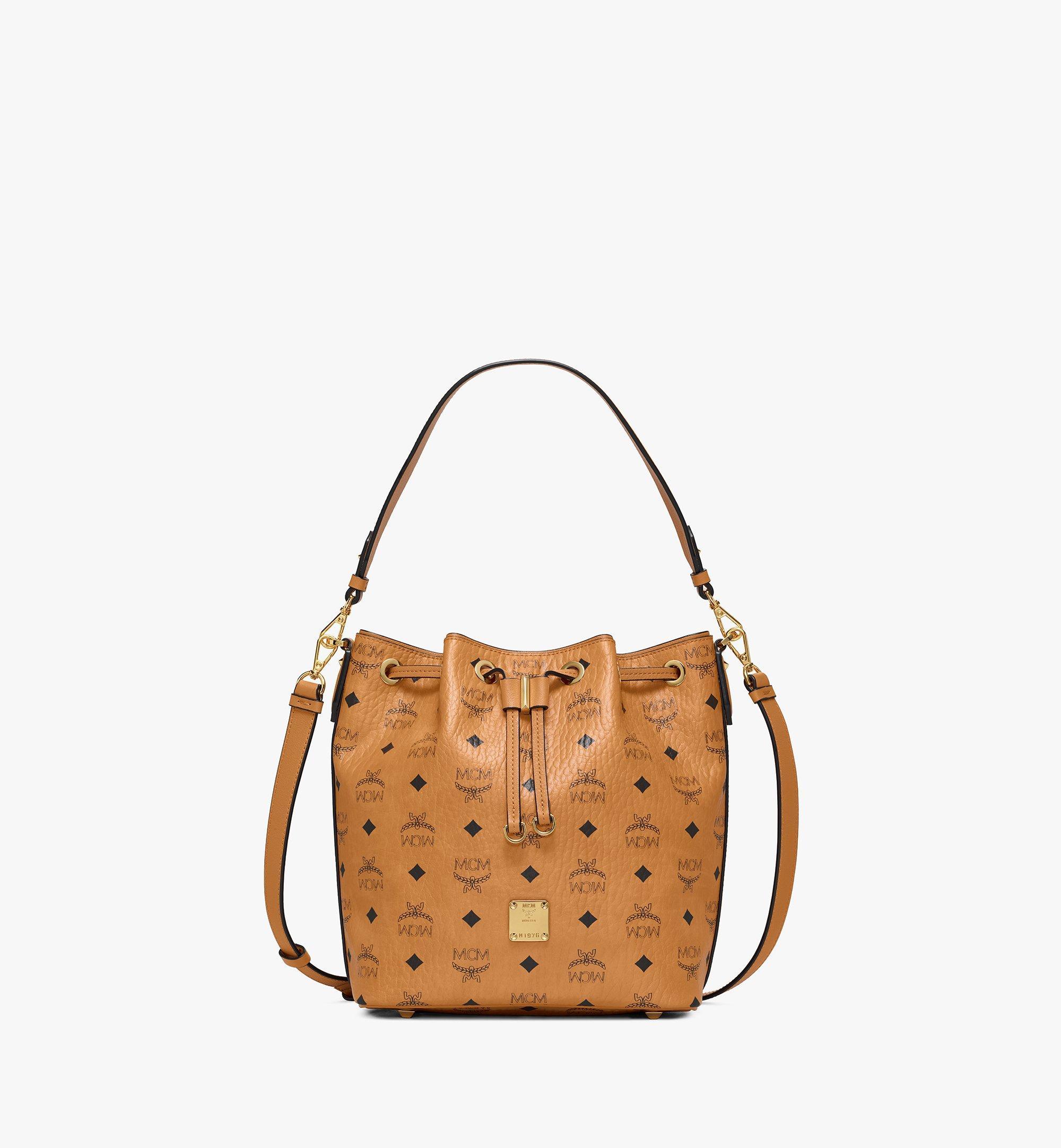MCM Essential Drawstring Bag in Visetos Original Cognac MWDAASE02CO001 Alternate View 1