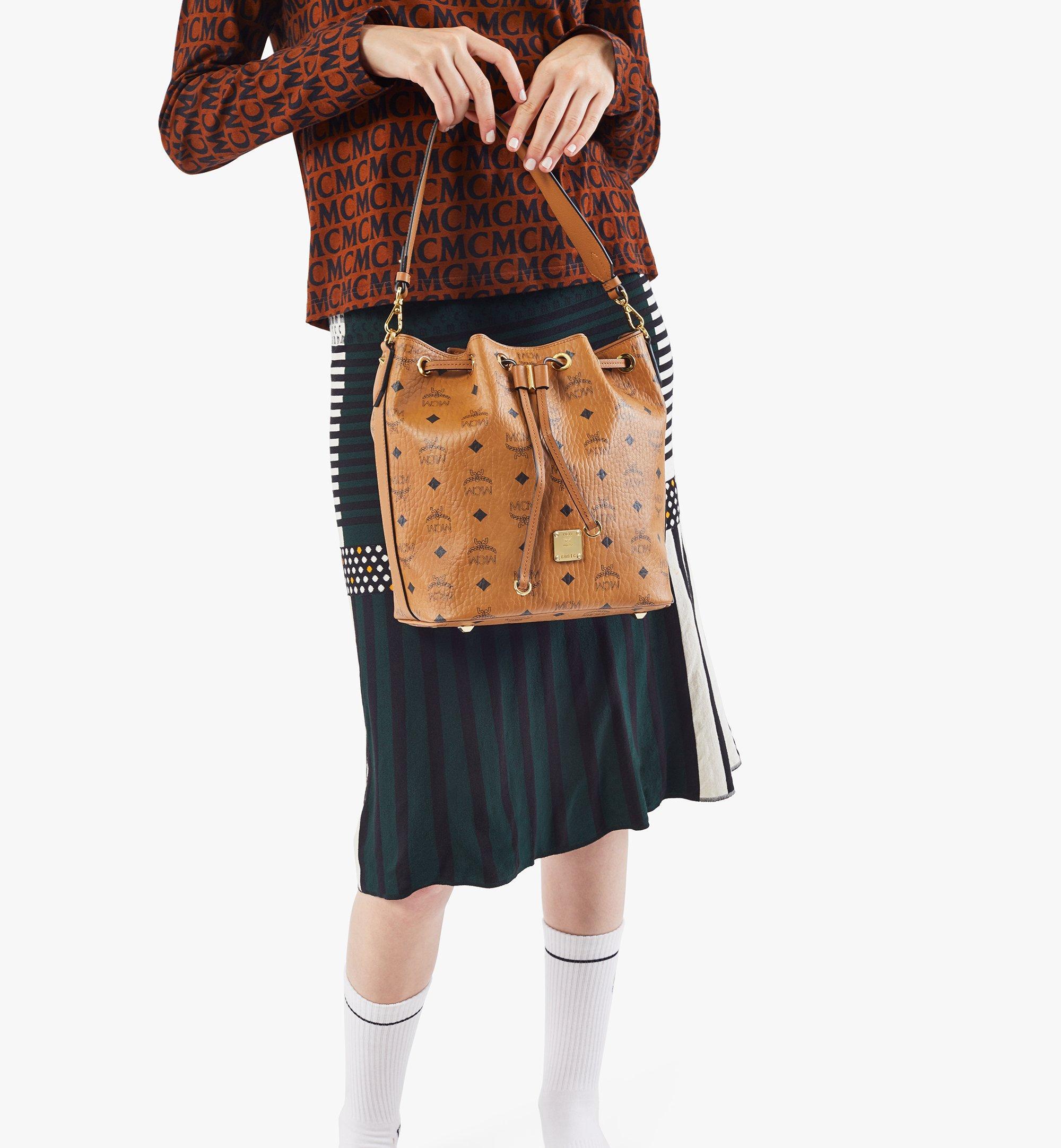 MCM Essential Drawstring Bag in Visetos Original Cognac MWDAASE02CO001 Alternate View 2