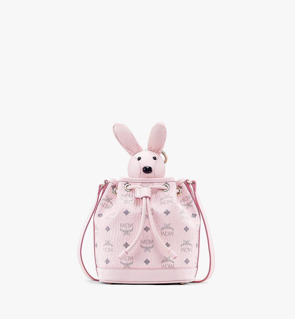 MCM MCM Zoo Rabbit Drawstring Bag in Visetos Pink MWDAAXL03QH001 Alternate View 1