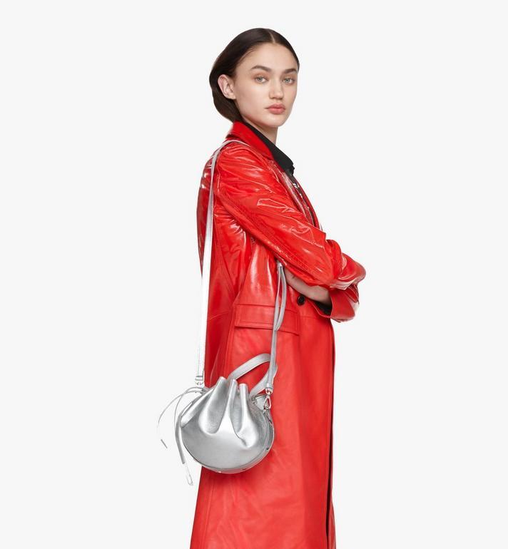 MCM Candy Shoulder Bag in Metallic Goat Leather Silver MWDASCY04SE001 Alternate View 5
