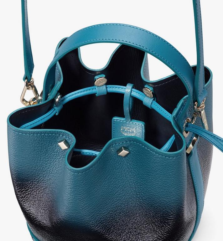 MCM Milano Drawstring Bag in Patent Leather Gradient Black MWDASDA01BK001 Alternate View 4