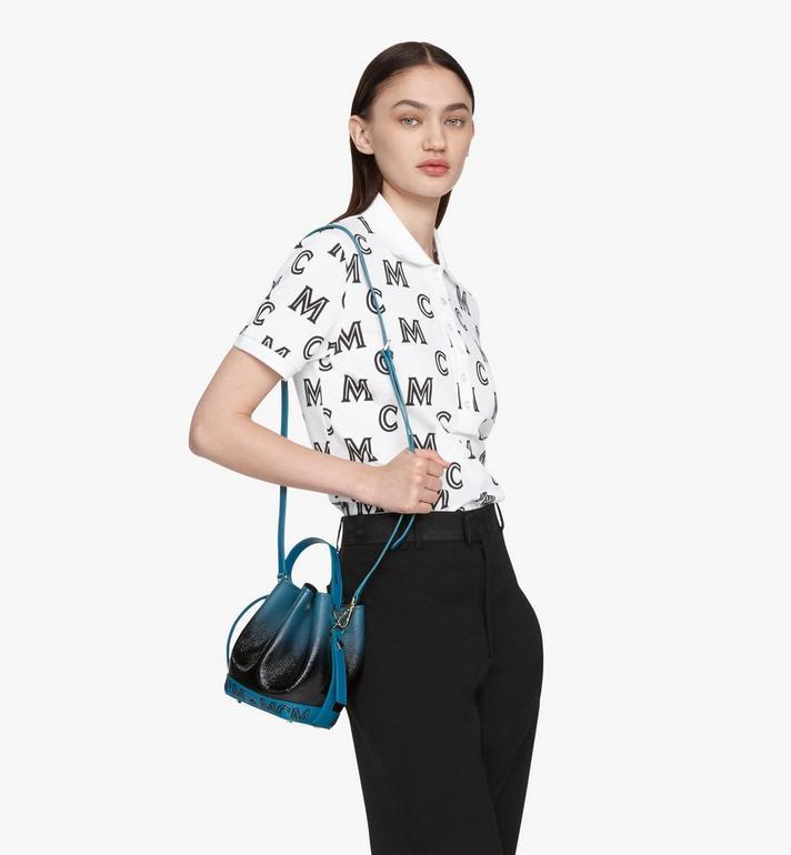 MCM Milano Drawstring Bag in Patent Leather Gradient Black MWDASDA01BK001 Alternate View 6