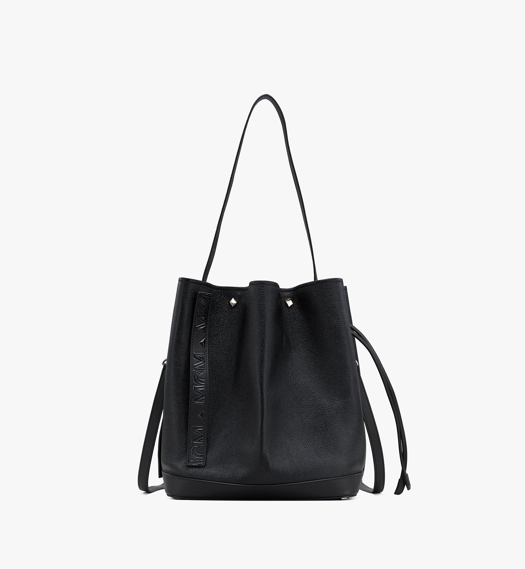 Medium Milano Tasche mit Kordelzug aus Ziegenleder Schwarz