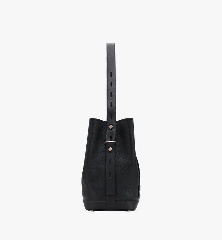 MCM Milano Drawstring Bag in Goatskin Leather Black MWDASDA02BK001 Alternate View 2