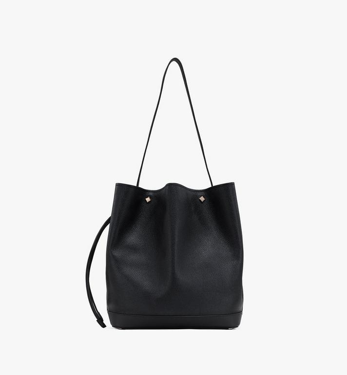 MCM Milano Drawstring Bag in Goatskin Leather Black MWDASDA02BK001 Alternate View 3