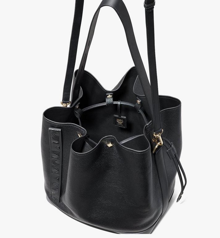 MCM Milano Drawstring Bag in Goatskin Leather Black MWDASDA02BK001 Alternate View 4