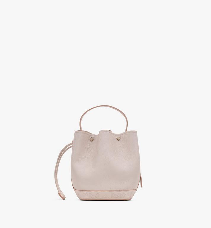 MCM Milano Drawstring Bag in Goatskin Leather Pink MWDASDA03IH001 Alternate View 3
