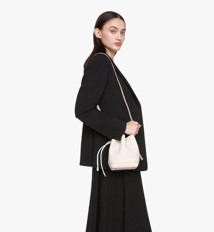 MCM Milano Drawstring Bag in Goatskin Leather Beige MWDASDA03IH001 Alternate View 6
