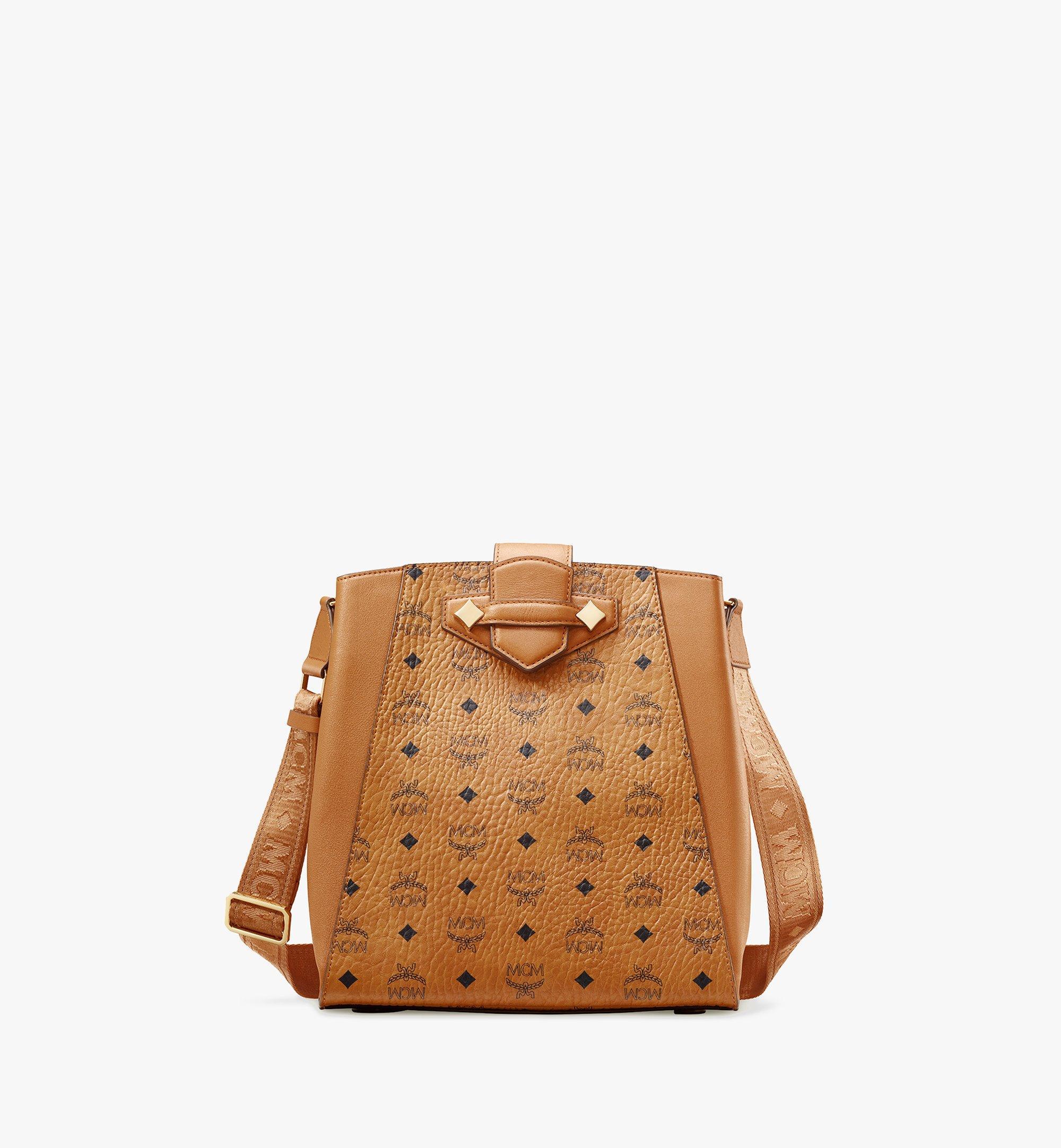 MCM Essential Bucket Bag in Visetos Original Cognac MWDASSE05CO001 Alternate View 1