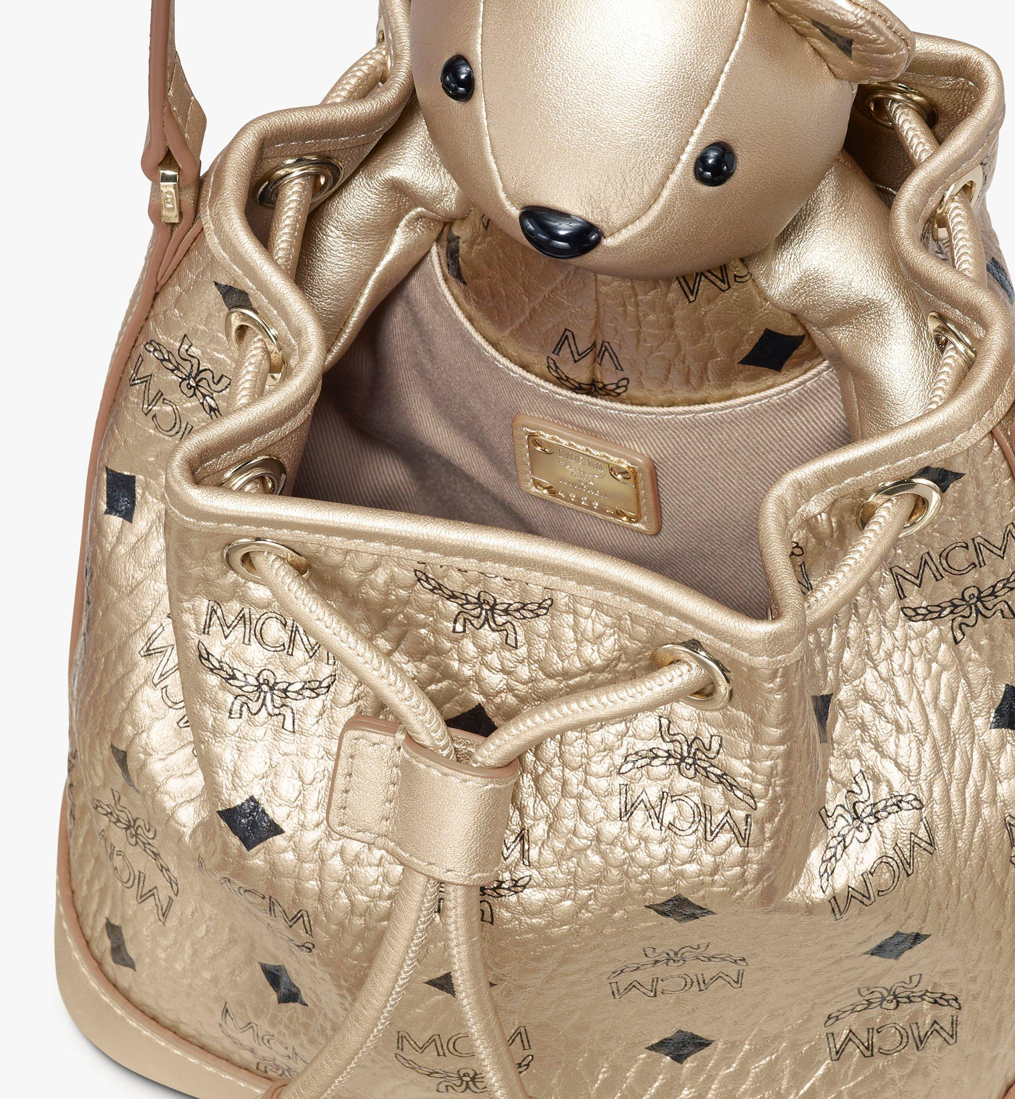 MCM MCM Zoo Bear Drawstring Bag in Visetos Gold MWDASXL02T1001 Alternate View 4