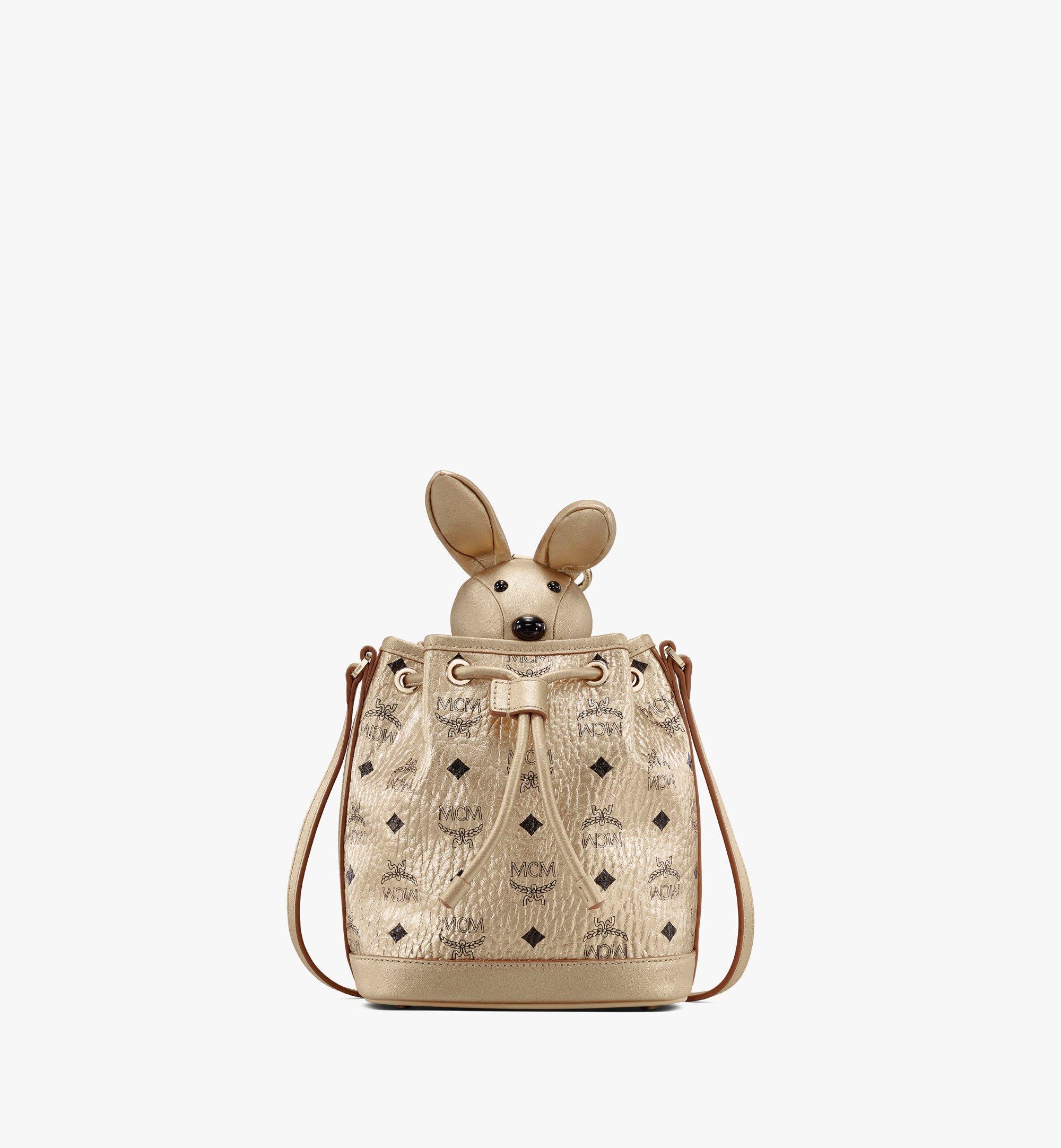 MCM MCM Zoo Rabbit Drawstring Bag in Visetos Gold MWDASXL03T1001 Alternate View 1