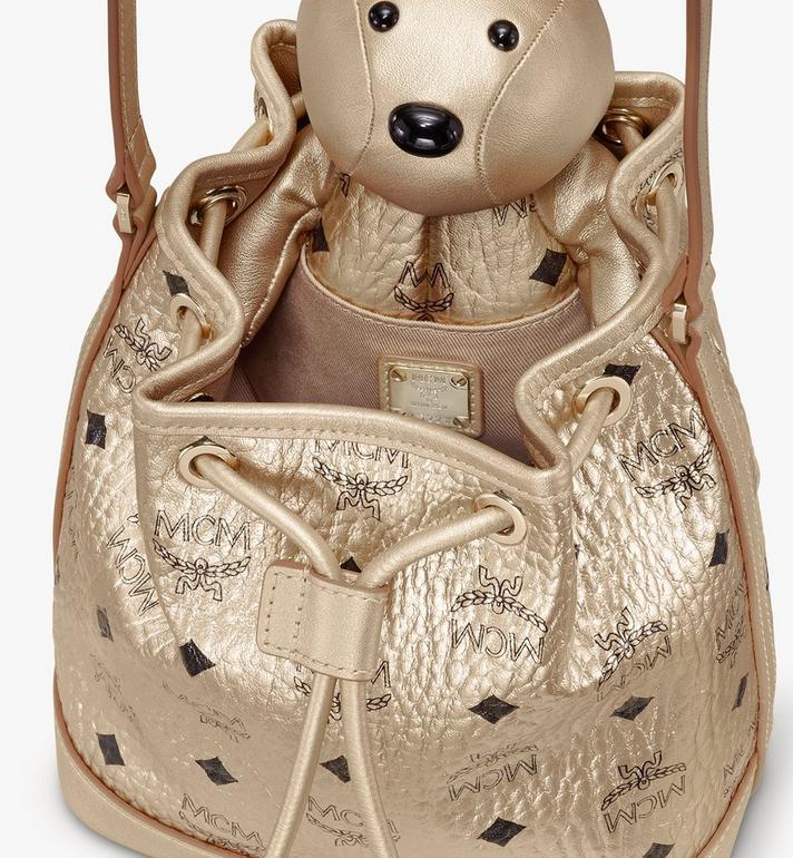 MCM MCM Zoo Rabbit Drawstring Bag in Visetos Gold MWDASXL03T1001 Alternate View 4