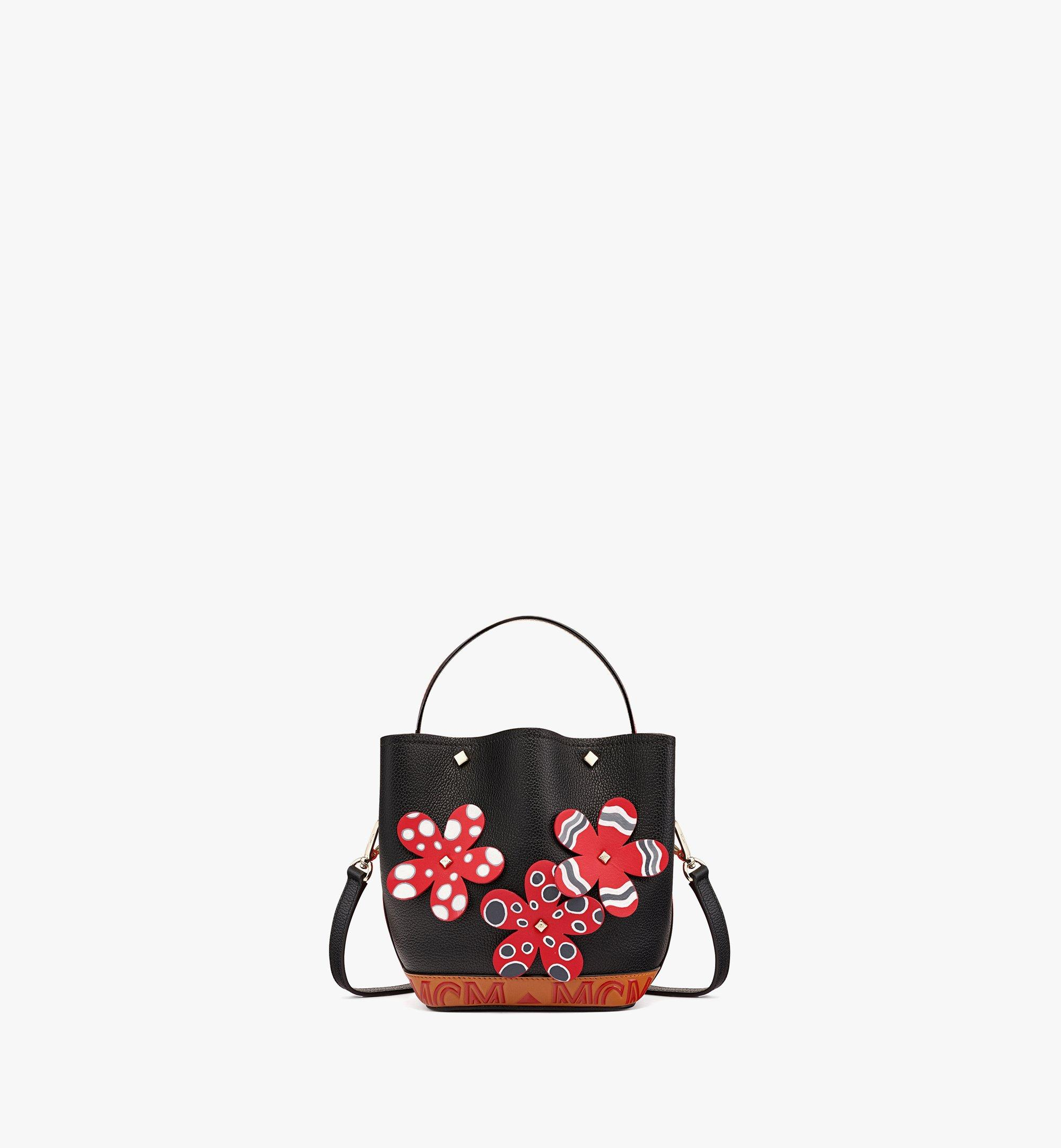 MCM Upcycling Project Flower Milano Drawstring Bag in Park Ave Leather Black MWDBAUP01BK001 Alternate View 1
