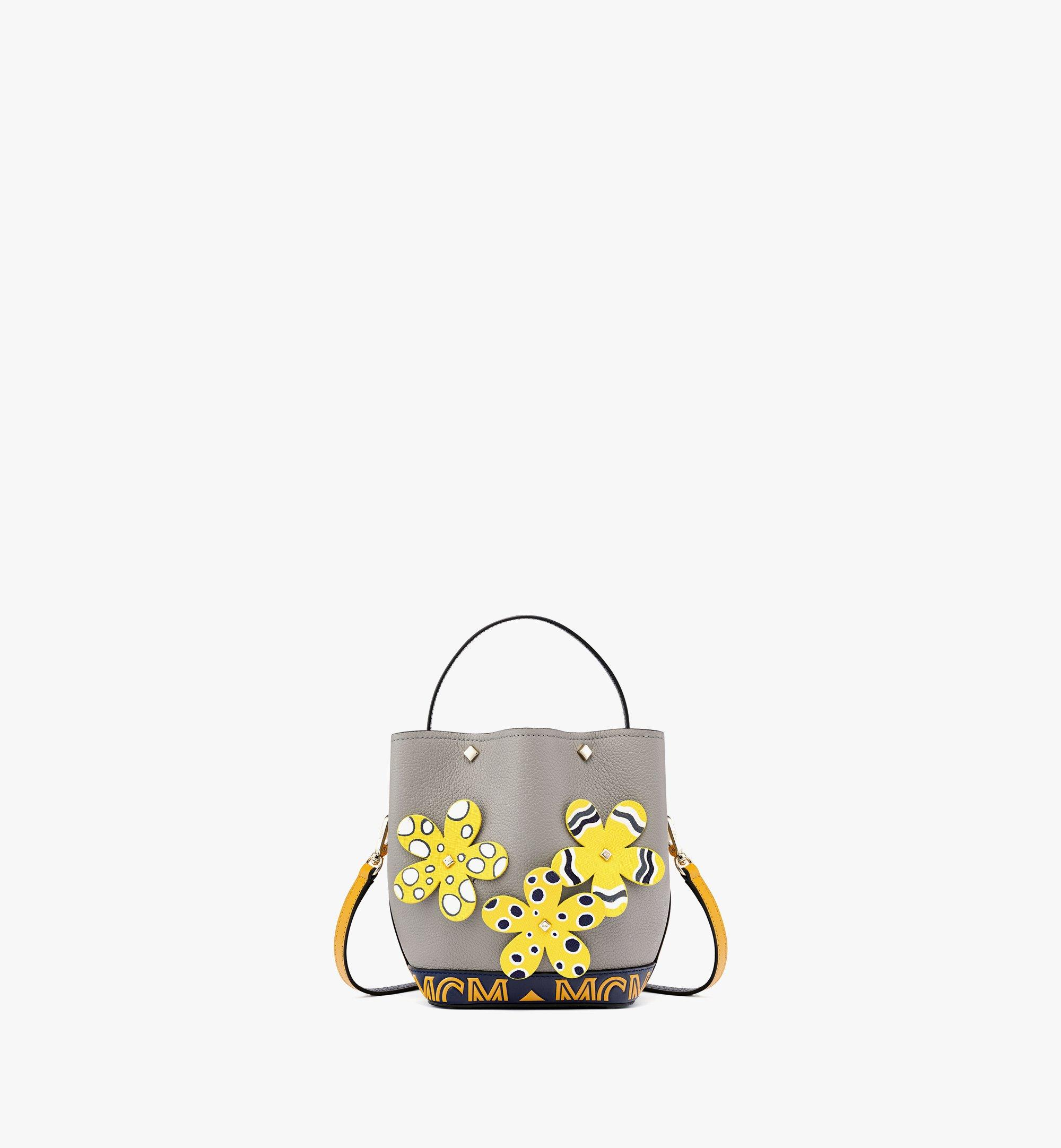 MCM Upcycling Project Flower Milano Drawstring Bag in Park Ave Leather Grey MWDBAUP01EZ001 Alternate View 1
