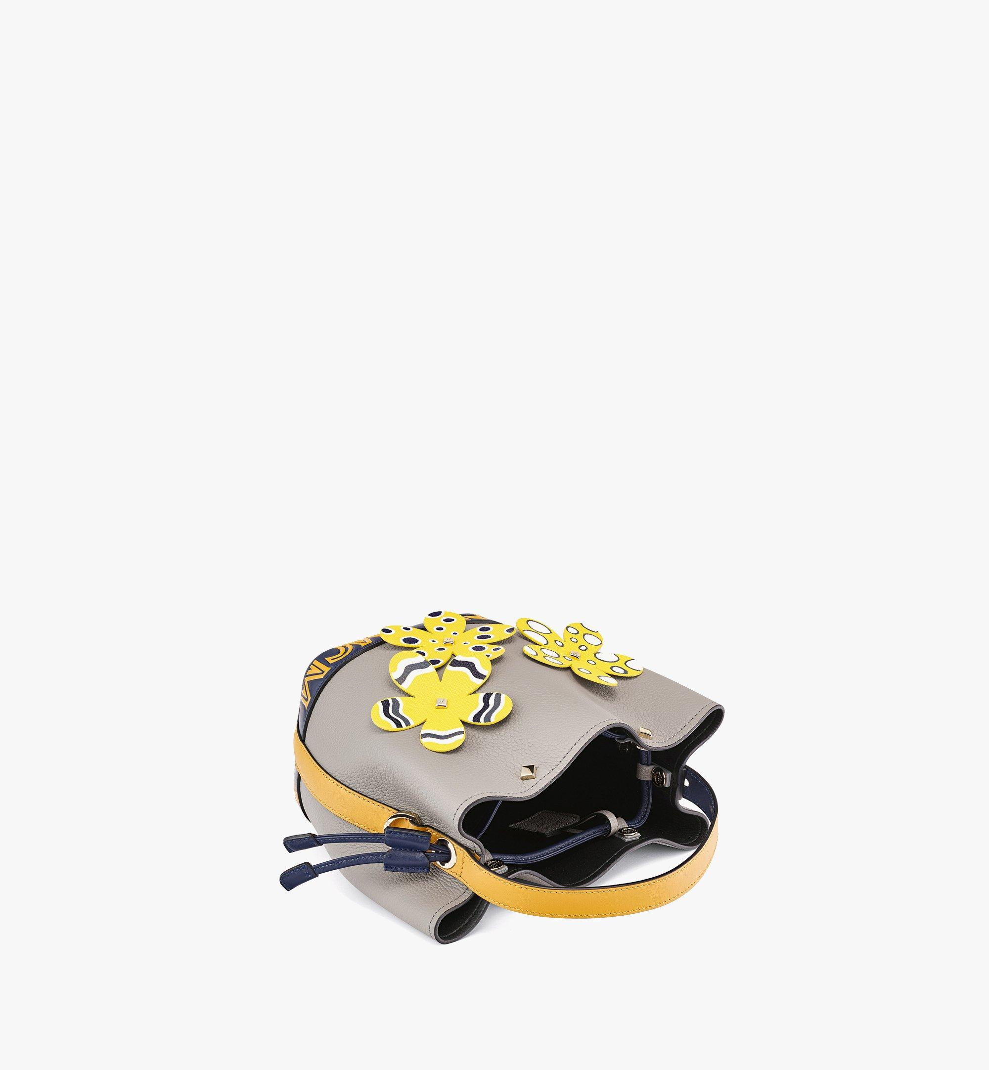MCM Upcycling Project Flower Milano Drawstring Bag in Park Ave Leather Grey MWDBAUP01EZ001 Alternate View 2