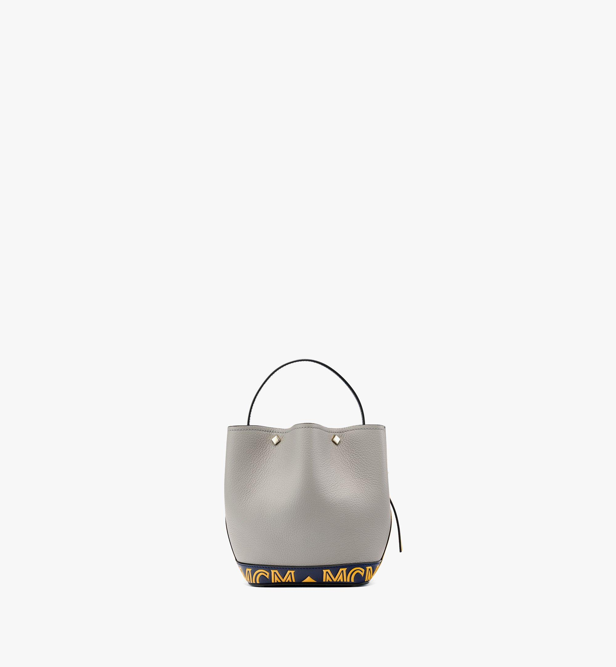 MCM Upcycling Project Flower Milano Drawstring Bag in Park Ave Leather Grey MWDBAUP01EZ001 Alternate View 3