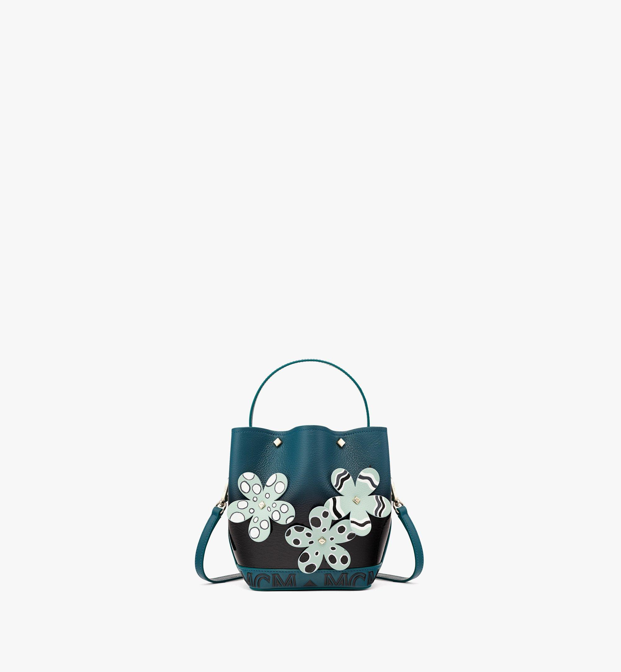MCM Upcycling Project Flower Milano Drawstring Bag in Goatskin Leather Black MWDBAUP02BK001 Alternate View 1