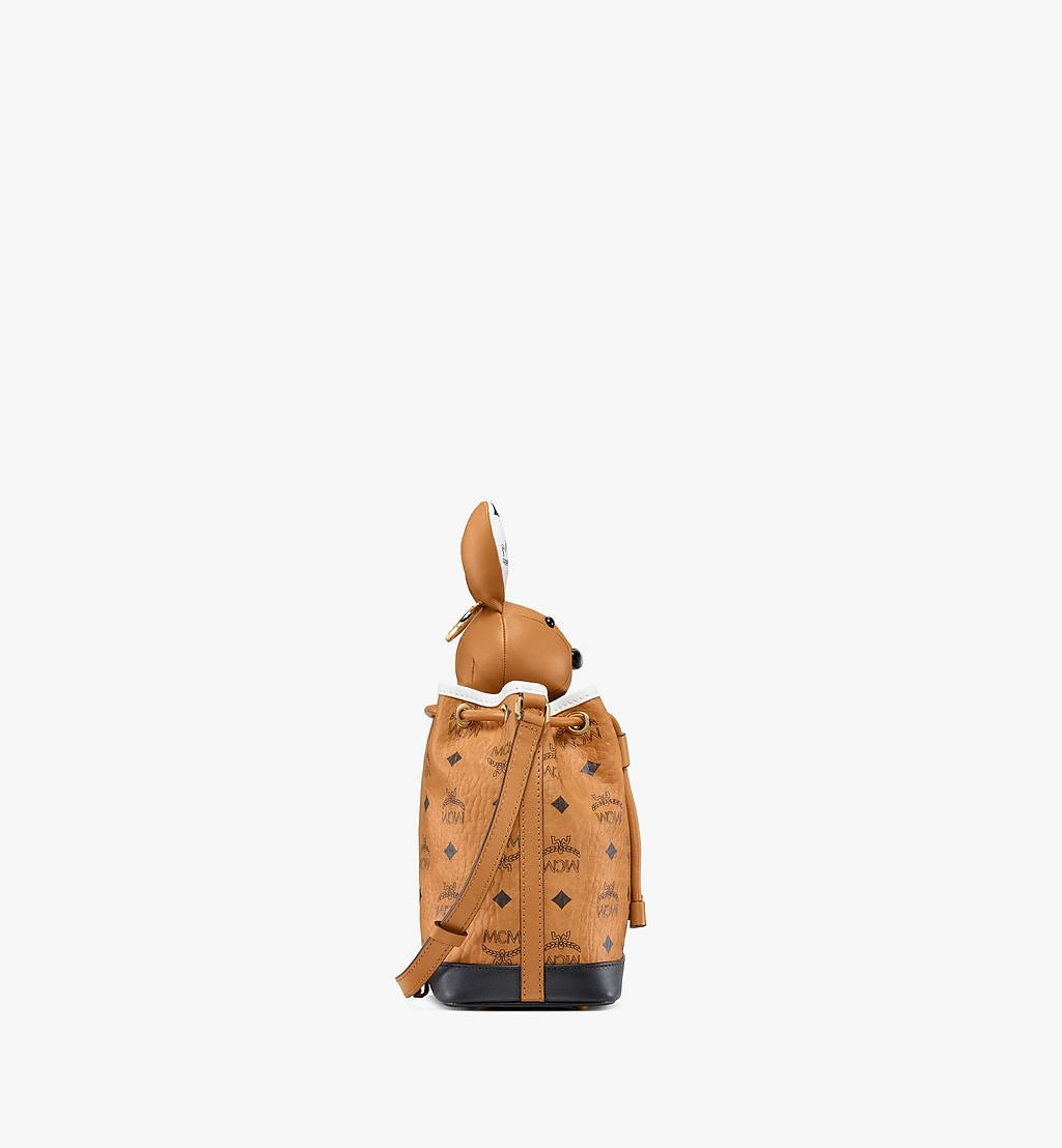 MCM MCM Zoo Rabbit Drawstring Bag in Visetos Leather Mix Cognac MWDBSXL01CO001 Alternate View 1