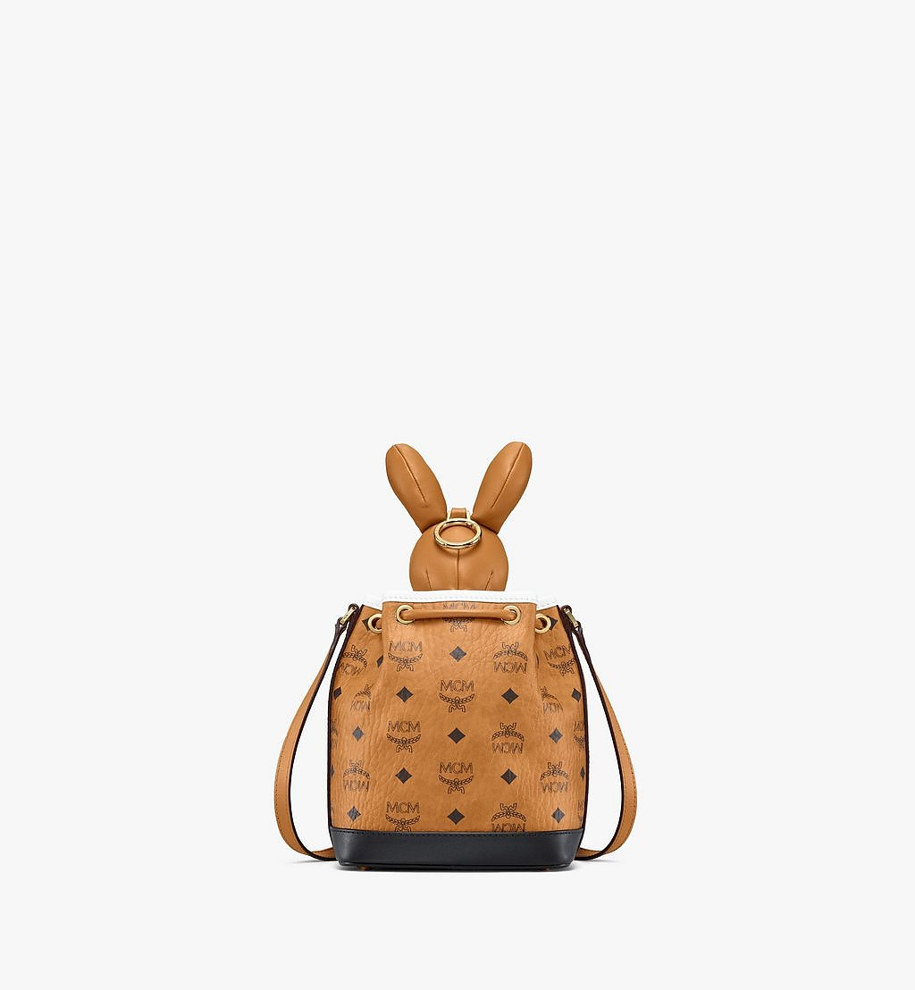 MCM MCM Zoo Rabbit Drawstring Bag in Visetos Leather Mix Cognac MWDBSXL01CO001 Alternate View 3