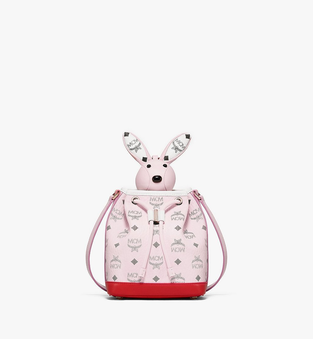 MCM MCM Zoo Hase Tasche mit Kordelzug in Visetos und Leder-Mix Pink MWDBSXL01QH001 Noch mehr sehen 1