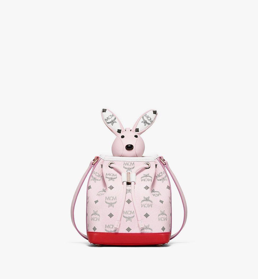 MCM MCM Zoo Rabbit Drawstring Bag in Visetos Leather Mix Pink MWDBSXL01QH001 Alternate View 1
