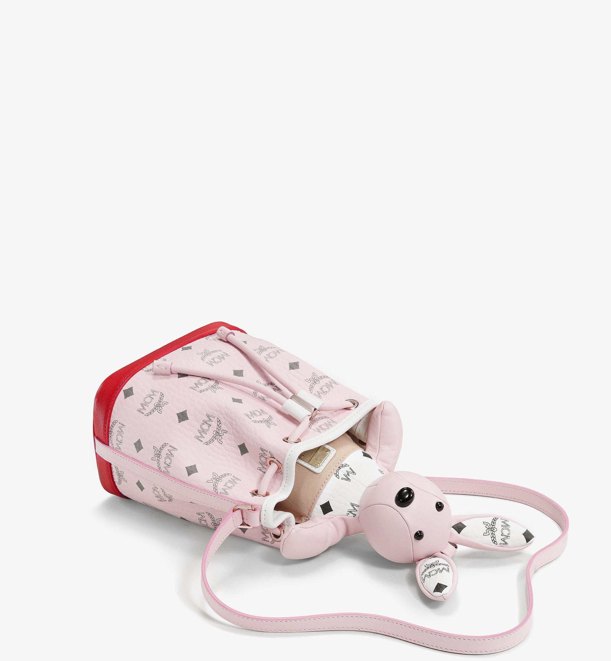 MCM Visetos 皮革混合 MCM Zoo Rabbit 束口包 Pink MWDBSXL01QH001 更多視圖 2