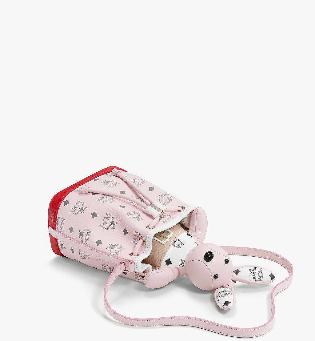 MCM MCM Zoo Rabbit Drawstring Bag in Visetos Leather Mix Pink MWDBSXL01QH001 Alternate View 2