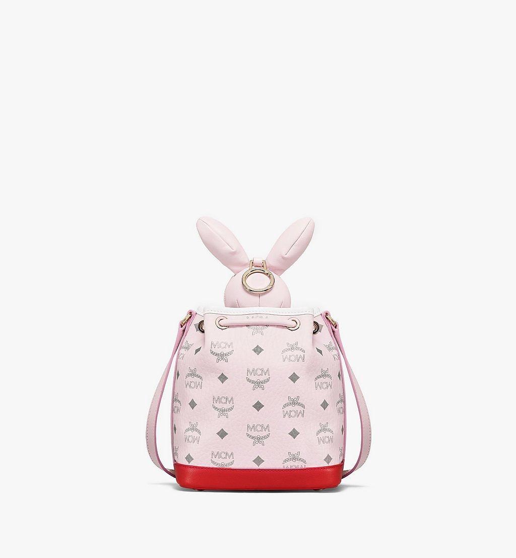 MCM MCM Zoo Rabbit Drawstring Bag in Visetos Leather Mix Pink MWDBSXL01QH001 Alternate View 3