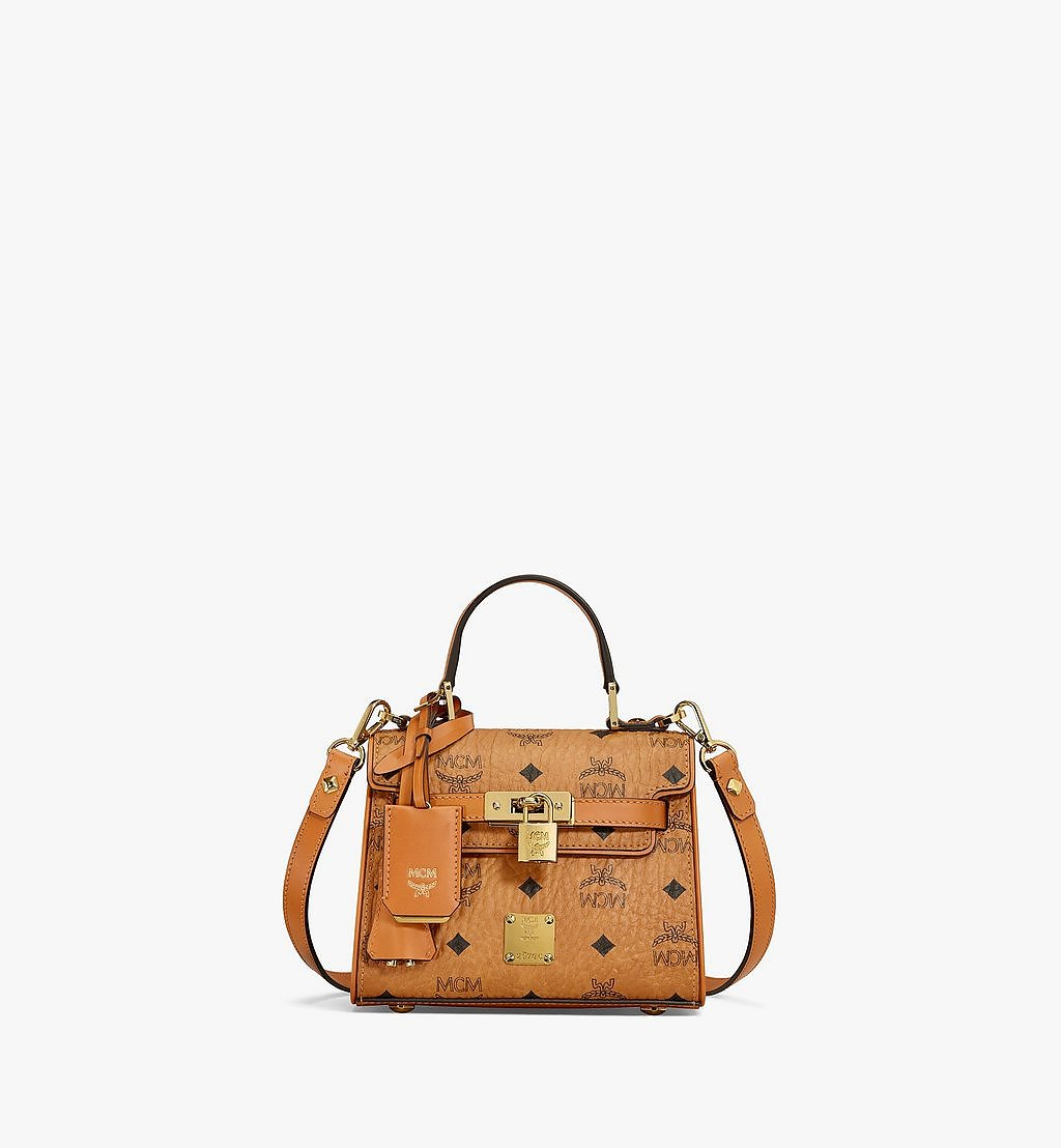 MCM Heritage Satchel in Visetos Cognac MWE6AVI63CO001 Alternate View 1