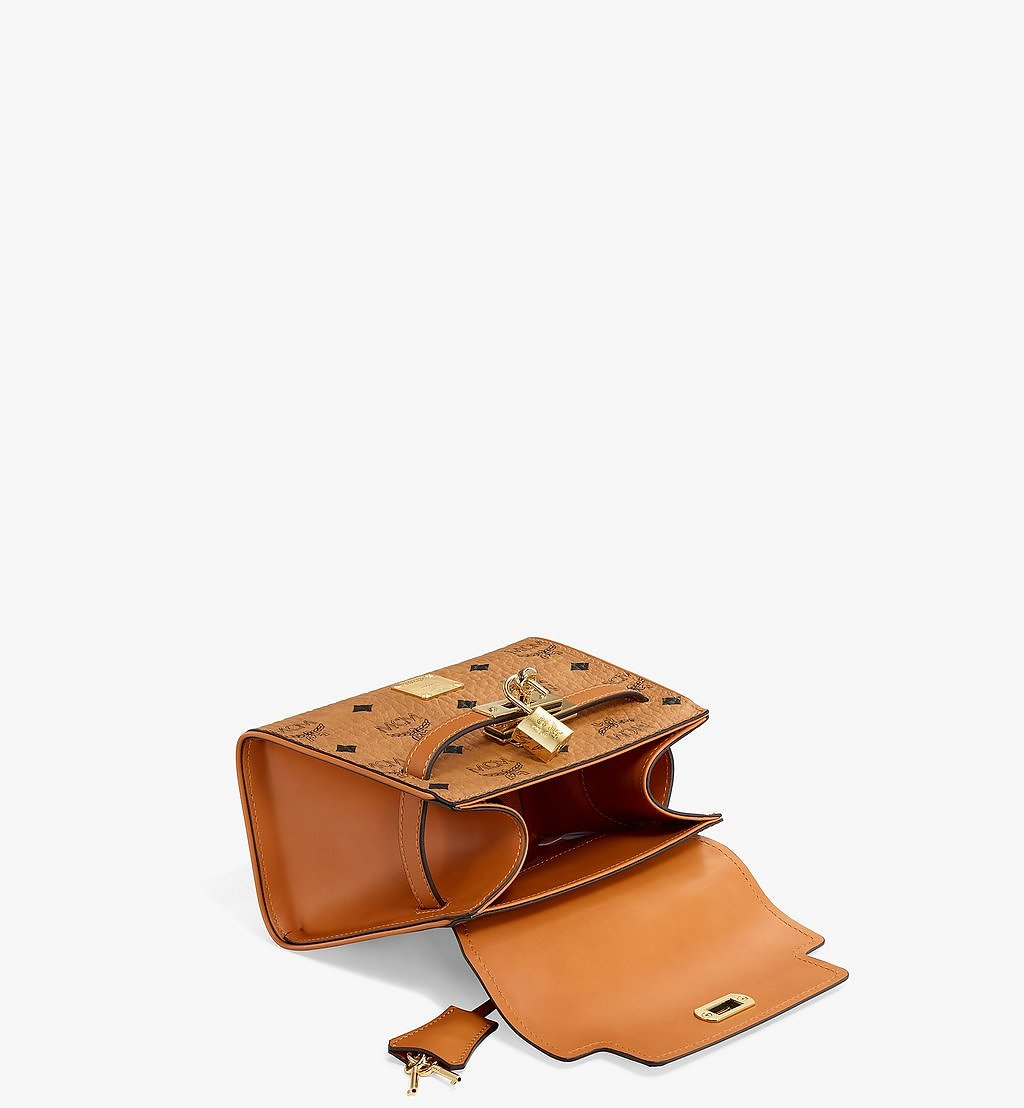 MCM Heritage Satchel in Visetos Cognac MWE6AVI63CO001 Alternate View 2