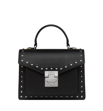 MCM Patricia Satchel in Studded Outline Leather MWE8APA51BK001 AlternateView