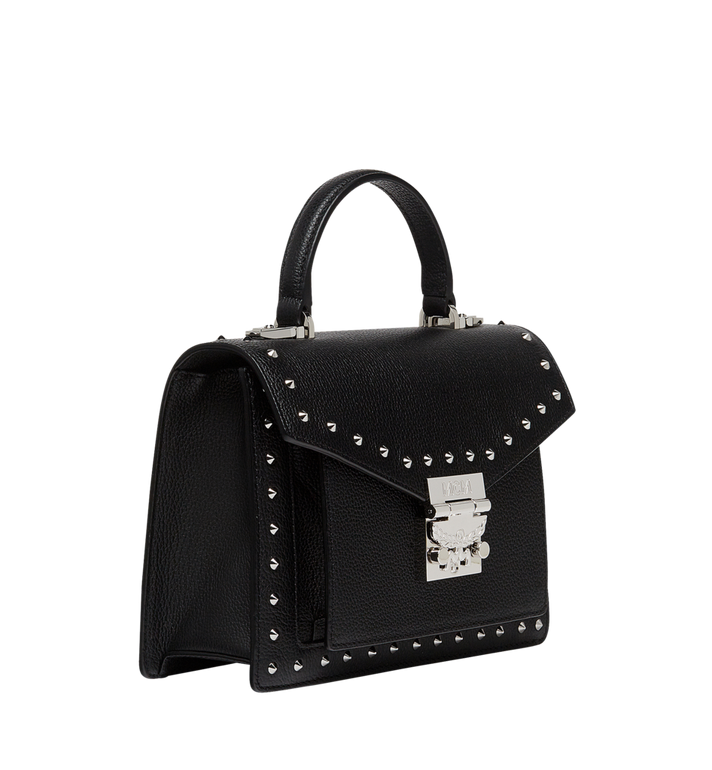 MCM Patricia Satchel in Studded Outline Leather MWE8APA51BK001 AlternateView2