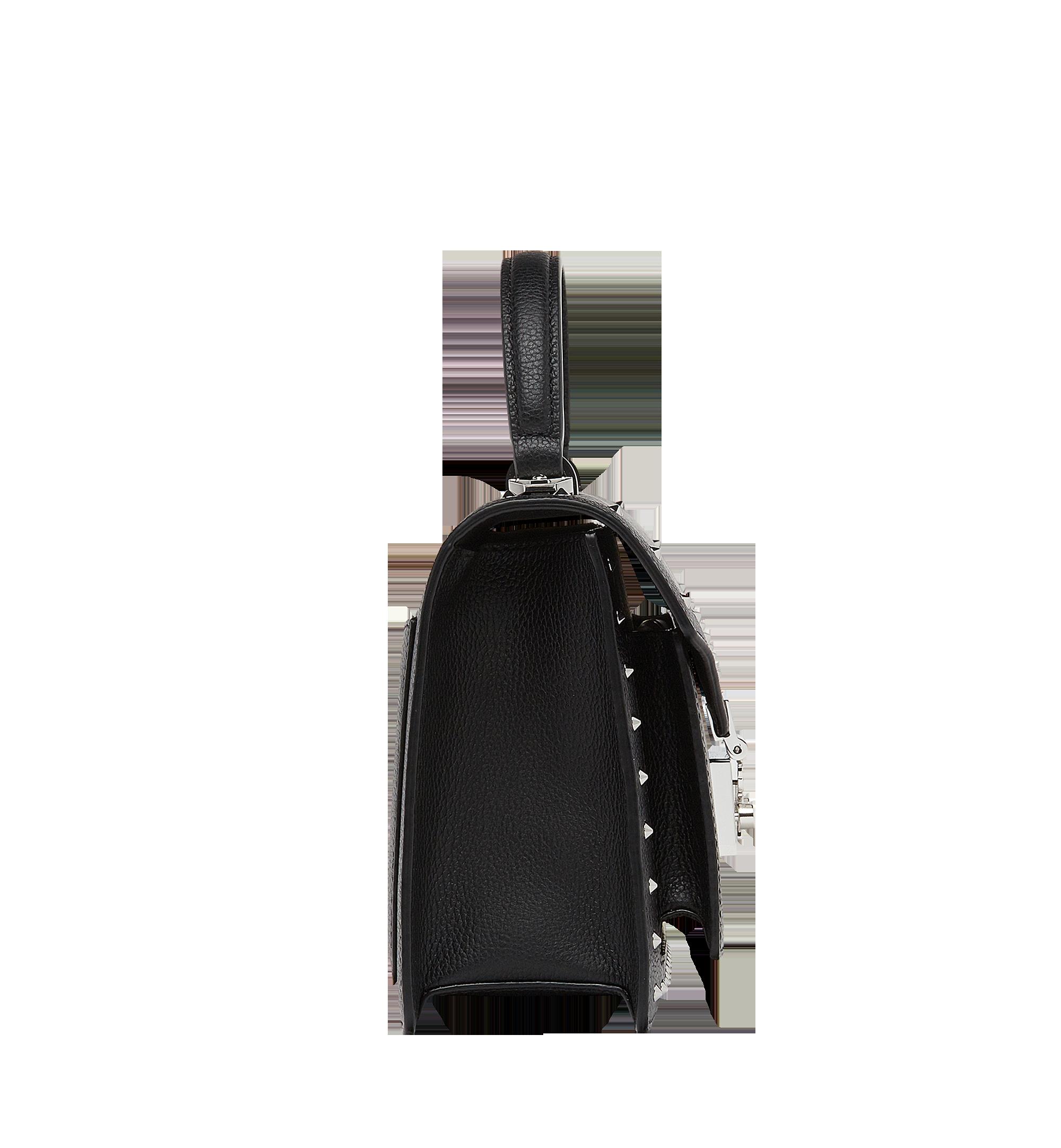 MCM Patricia Satchel in Studded Outline Leather Black MWE8APA51BK001 Alternate View 3